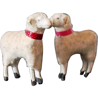 A Pair of Old Miniature Toy Lambs