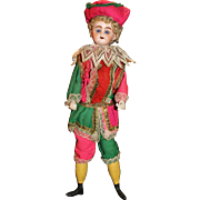Antique Mechanical Squeezebox Jester Clapper Doll