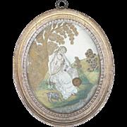 Gorgeous Original 18th Century Georgian Silkwork Picture in Great Condition