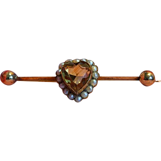 Antique Victorian 9ct 9k Heart Shape Citrine & Pearl Bar Pin Brooch