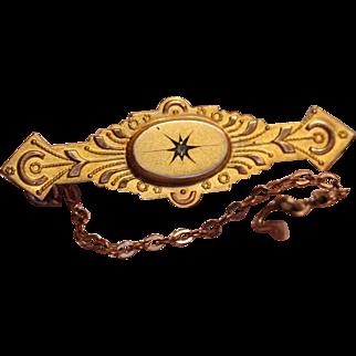 Antique Victorian English 9ct 9k Diamond Bar Pin Brooch