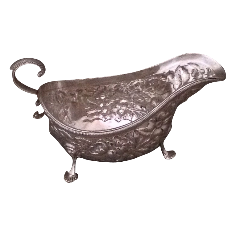 19th century American sterling sauceboat by Frank W. Smith