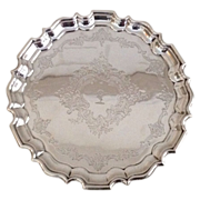 19th cent. British sterling silver tray by Thomas Bradbury & Sons