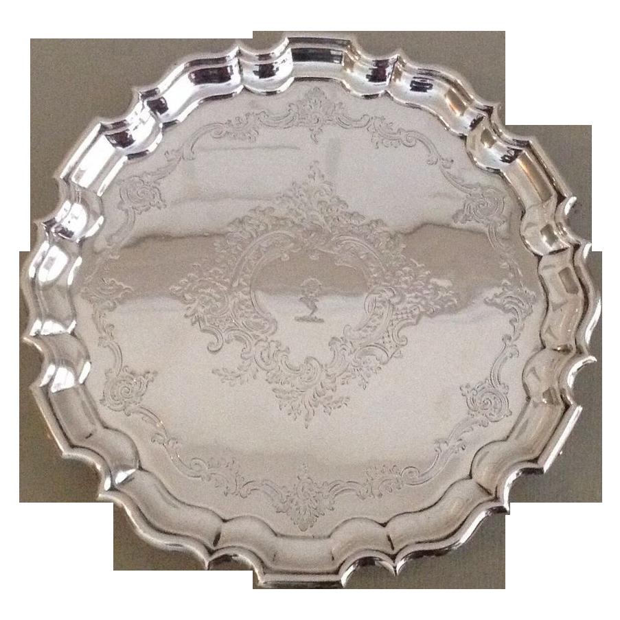 19th cent. British sterling silver tray by Thomas Bradbury & Sons