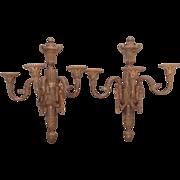 C. 1910 pair of gilt bronze French sconces