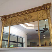 19th century American or English over mantel mirror