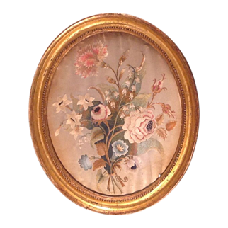 18th cent. American or English embroidery under glass