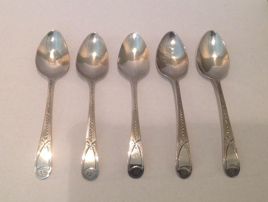 Set of 5 British sterling Bateman coffee spoons