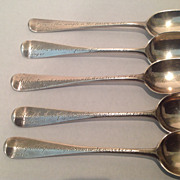 Set of 5 British sterling demitasse spoons