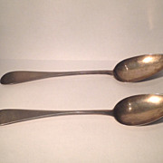 Large pair off 18th cent. American silver spoons