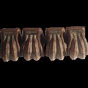 19th century Brass paw feet set