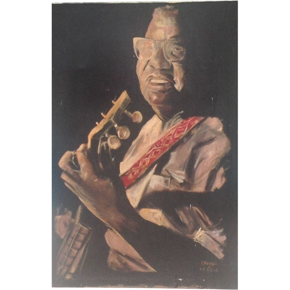 Vintage American oil painting of Gus Cannon