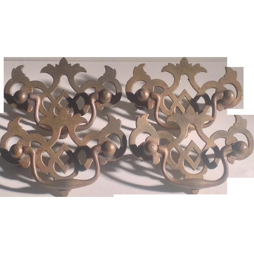 Set of 4 brass drawer handles