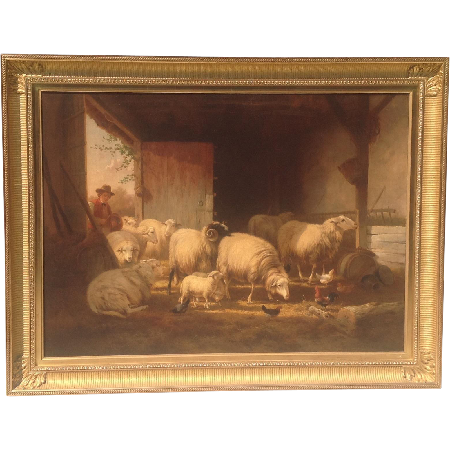 Large 19th Cent. Belgian Oil Painting