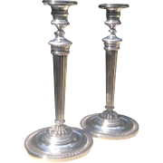 Tall pair of mid-century Sterling Silver Candlesticks