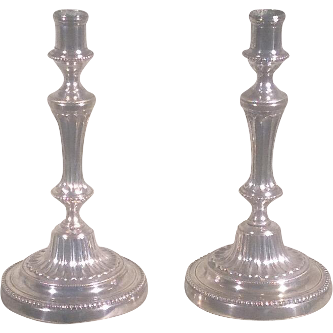 19th c. French silvered brass candlesticks