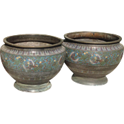 19th C. Pair of Cloisonné Jardinaires