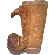 Early 20th C. Carved Wood Boot