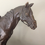 Horse with Saddle Bronze, Marble Base - Statue by Milo