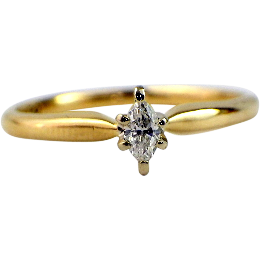 marquise solitaire engagement promise ring sold