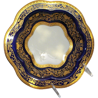 "Spectacular Set of 12 Dessert Bowls - Cobalt Blue, with 24K Gold Embellishments, ""Eldorado"" by ""Black Knight"""