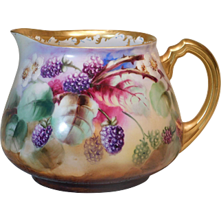 Lovely William Guerin Limoges Blackberry Pitcher (signed by artist), Embellished with Bright Gold Gilt Decoration