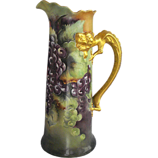 "JPL Large 15"" Tankard, Lovely Grapes, Gold Gilt Dragon Handle Dated 1906"