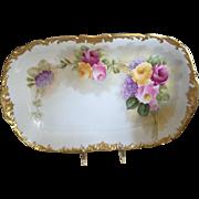 Beautiful T&V Limoges 9 Piece Dessert Set - Roses, Rococo Gold Gilt Borders