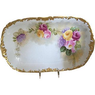 Beautiful T&V Limoges 9 Piece Dessert Set - Roses, Rococo Gold Gilt Borders