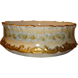 T&V Limoges Pudding Set - Daisies, Gold Rococo Gilt Borders