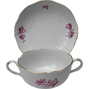 """Meissen """"Neumarseilles"""" Twin Handle Soup Set with Beautiful Purple Flowers and Gold Gilt"""