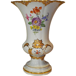 Beautiful Meissen Trumpet Vase, Hand Painted Flowers, Meissen Gold/Bronze Decoration, First Quality