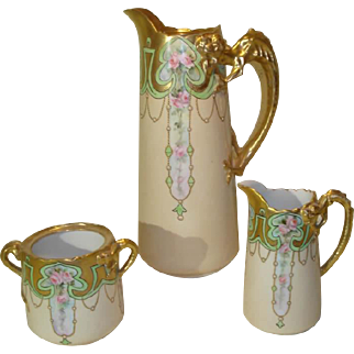 Willets Belleek Art Deco Coffee Set with Gold Gilt Dragon Handles
