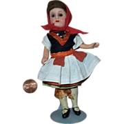"5-1/2"" German Painted Bisque Doll in All Original Garb, AM 390"