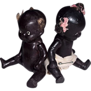 "Pair of 4"" All Bisque Black Baby Twins"