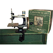 c.1910 First Child's Singer Machine and Orig. Box and Clamp #20
