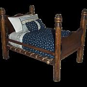 """Dear Vintage Rope Bed for 6-8"""" Dolls"""