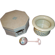 Deco Era Celluloid Baby Box, Rattle, and Potty for Large Baby Doll