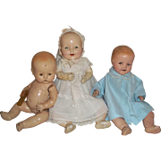 Three 1930s Compo Babies-Shirley Temple Baby, Arranbee and AC Petite