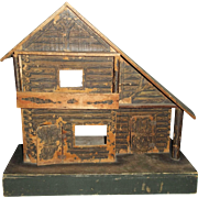 Early 20c. Gutter House Log Cabin Doll House