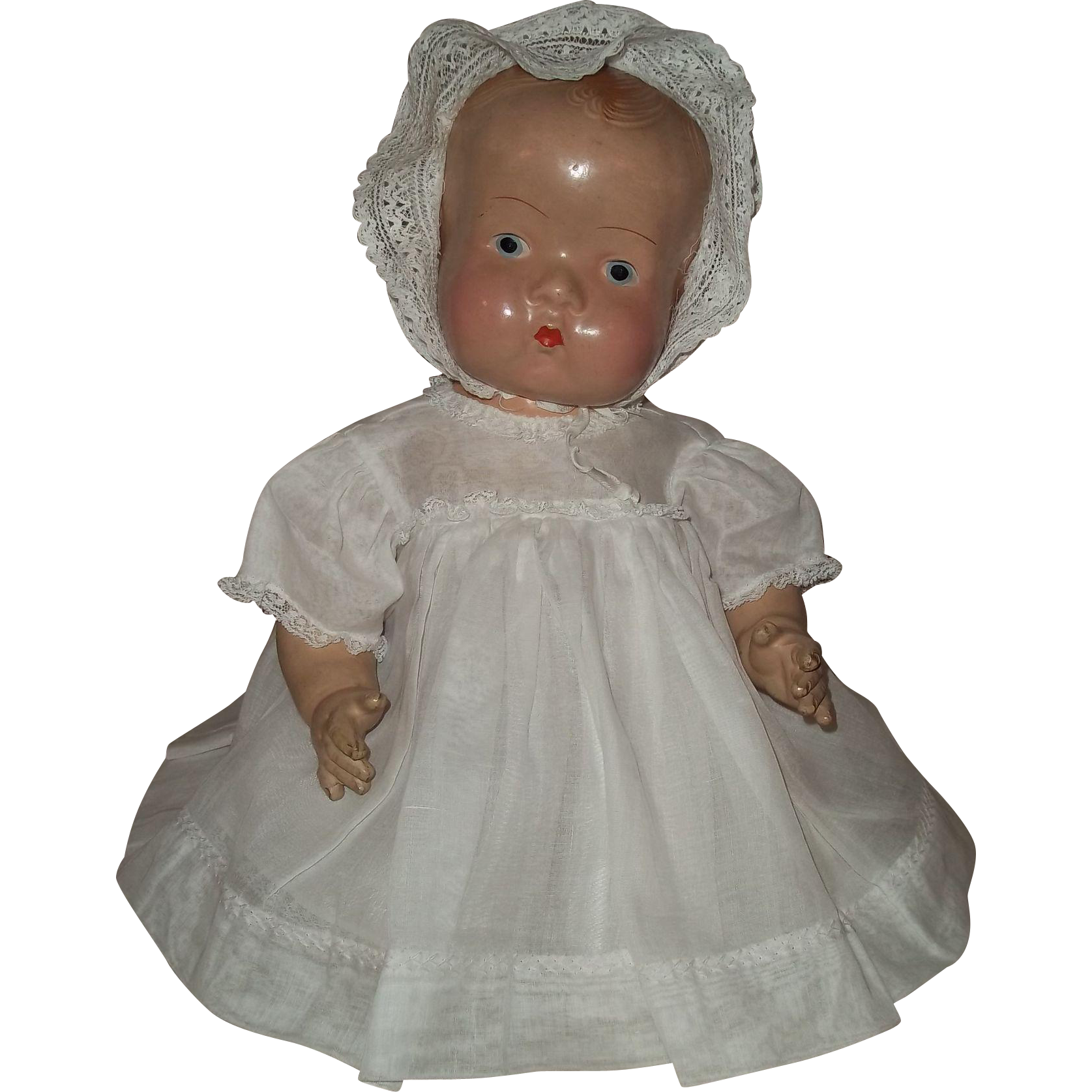 Cutest 1930s Chubby Composition Baby Doll with Organdy and Lace Dress