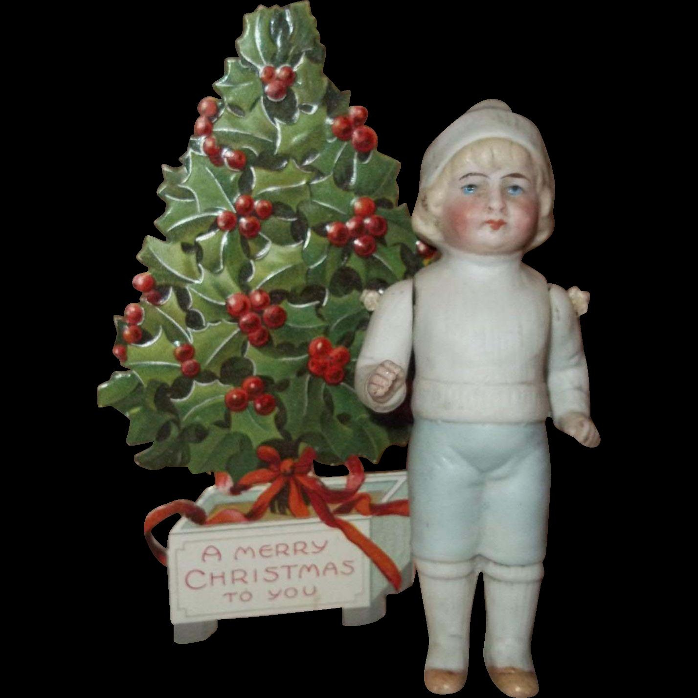 Dear Hertwig All Bisque Boy Doll in Winter Garb