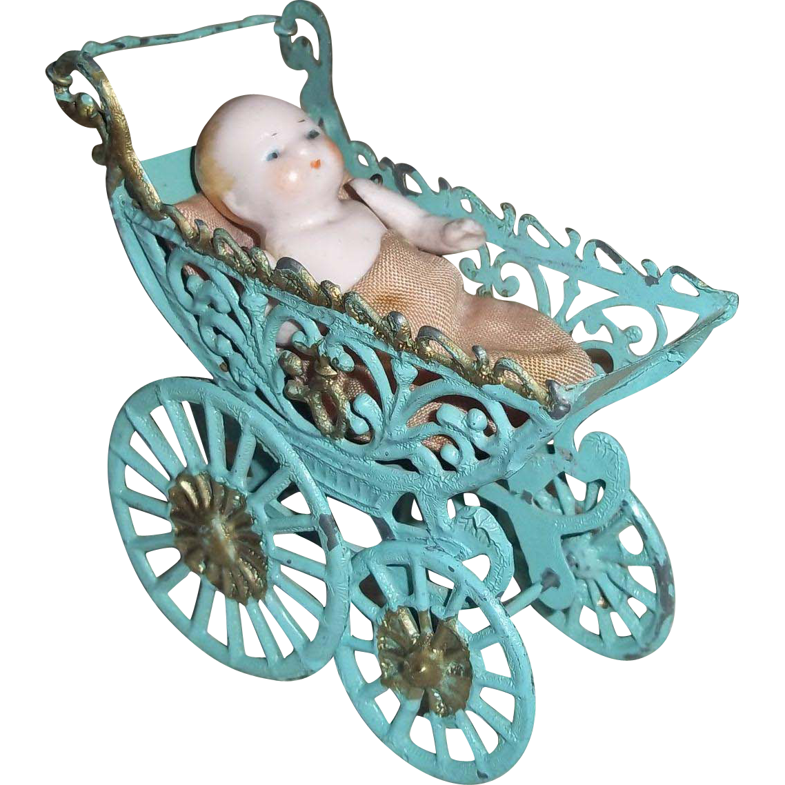 Vintage Miniature Carriage with German All Bisque Baby