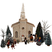 """1920s/30s Wooden Church House with Mica """"Snow"""" - Red Tag Sale Item"""