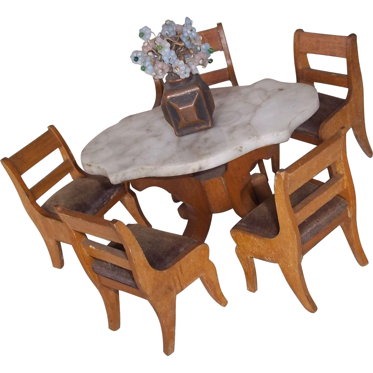 Six Pieces Of German Schneegas Dining Parlor Furniture Marble Top From Timele