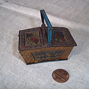 Dear Tiny Tin Antique Lithographed Basket/Hamper