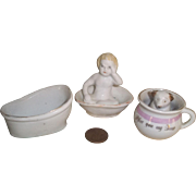 Three Porcelain Pieces for Dolly's Bath and Personal Needs