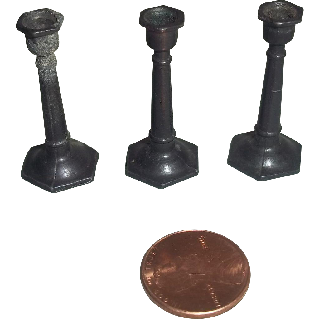 Early 20c. Set of Three Doll House Scale Candle Sticks