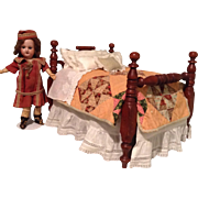 Late 19c. Doll Bed and Dressings for Cabinet Size Doll