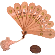 Early 20c. Petite wooden Fan with Silk Ribbon and Tassel